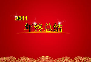 2011 red festive year-end summary ppt template