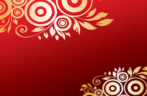 22 beautiful festive gold lace flowers red background ppt template