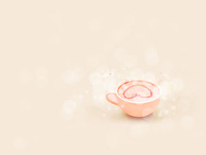 A cup of loving milk tea warm pink background ppt picture