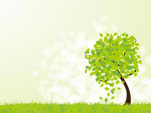 A leafy vector cartoon tree ppt background