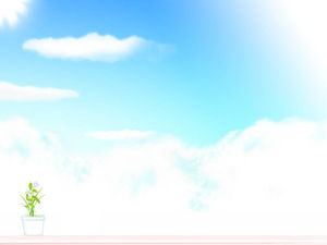A pot of flowers and elegant clouds ppt background picture