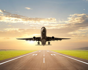 Aircraft takeoff close-up atmosphere business ppt background