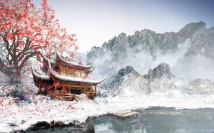Ancient trees ancient pavilion ancient painting ppt background pictures