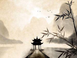 Bamboo leaf pavilion ink classical Chinese wind ppt background picture
