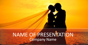 Beautiful sunset wedding couple - romantic love ppt template