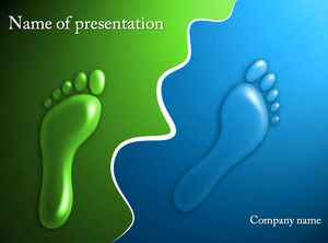 Blue and green creative three-dimensional footprint ppt templatev