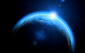 Blue Planet Earth Universe Light HD Slide Background