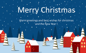 Blue sky under the warm town - 2016 greeting card Christmas theme ppt templateBlue sky under the warm town - 2016 greeting card Christmas theme ppt template
