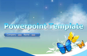 Butterfly blue background ppt template
