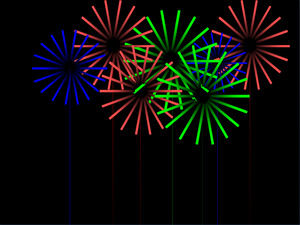 Circle jet color fireworks effect ppt template