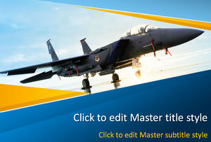 Cool Wei fighter military theme blue orange color ppt template