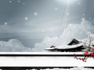 Courtyard snowflakes snow ppt background picture