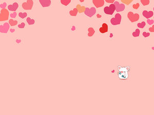 Cute little piggy romantic heart ppt pink background picture
