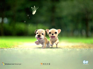 Cute running puppy ppt background picture