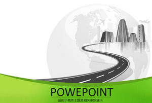 Earth plane high building road - simple and fresh business ppt template