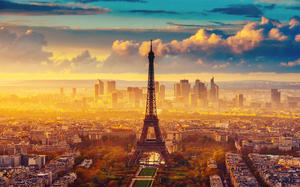 Eiffel Tower Europe bustling ancient city HD background picture