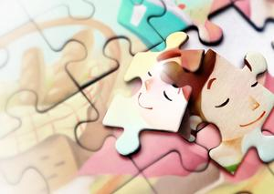 Face puzzle love men and women background picture