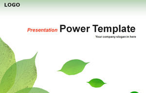 Falling green leaves fresh and simple ppt template