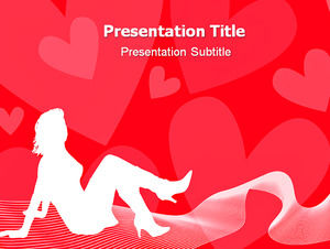 Fashionable hollow beauty heart-shaped background female ppt template