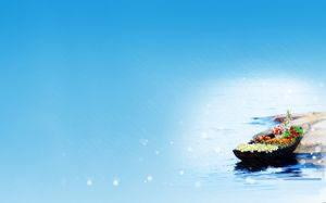 Filled with flowers of love boat ppt background picture