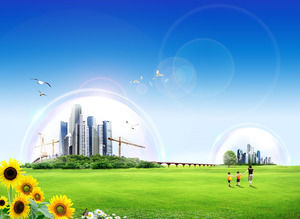Free breath green home - environmental theme ppt background picture