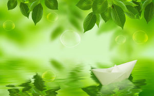 Fresh and clean and elegant green leaves ppt background pictures