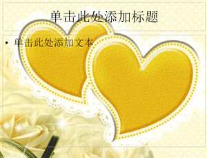 Golden Love White Rose Wedding Wedding Ppt Template