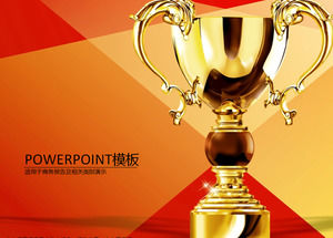 Golden trophy red and yellow passion festive sales report ppt template