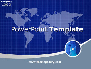 Grid world map blue ppt template