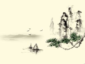 Gu Shan ancient landscape of the ancient geese - classic landscape charm background picture
