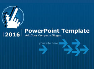 Handy Mouse Pointer Arrow Classic Blue Business Ppt Template