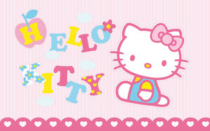 Hello kitty pink cartoon background picture