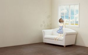 Lonely girl looking out the window ppt background picture