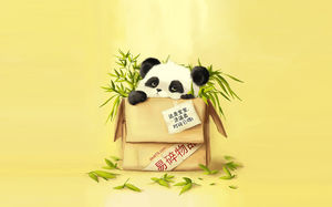 Love panda protection animal public ppt background picture