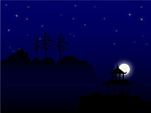 Meteor across the night sky bright sky romantic moon ppt template