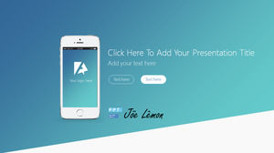 Mobile theme blue simple business report ppt template
