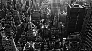 Modern city overlooking view gray monochrome HD background