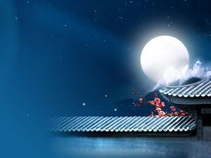 Moonlight Night Peach Blossom Wall Chinese Style ppt Background Image
