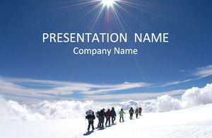 Mountaineering team snowboard team cooperation business ppt template
