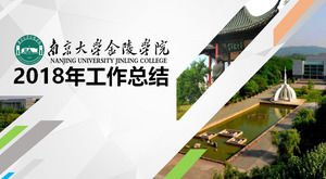 Nanjing University Jinling College education and teaching work summary report ppt template