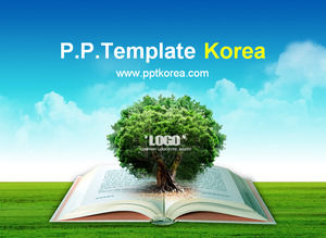Open the book out of the tree - environmental protection public lectures knowledge learning dynamic ppt template