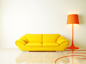 Orange sofa table lamp warm picture ppt background