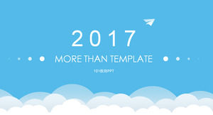 Paper plane direction - vector cloud bright blue flattened business ppt template