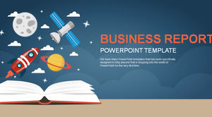 Planetary satellite small rocket cartoon creative technology dynamic design business work report ppt template