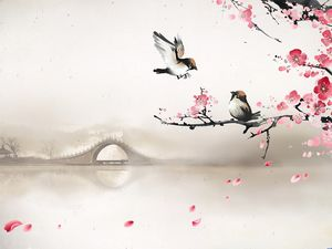 Plum Swallow Returns Chinese Wind Slide Background Image