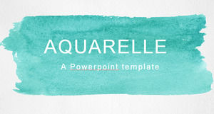 Refreshing mint green watercolor style simple European and American ppt template