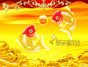 Rich goldfish trouble new spring dynamic ppt template