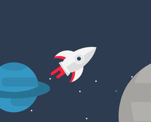 Rocket flying the universe ppt little animation