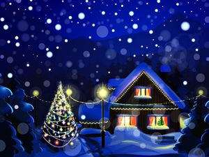 Romantic Christmas night blue ppt background picture