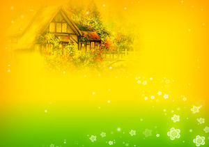Romantic hut oil painting ppt background picture